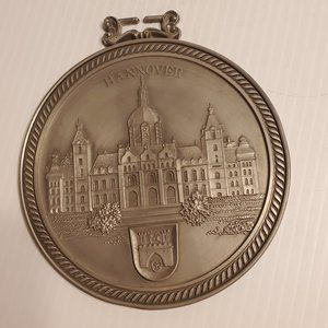 Vtg Pewter Plate Wall Hanging Hannover City Hall